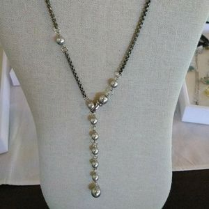 Pearl & oxidized Sterling necklace
